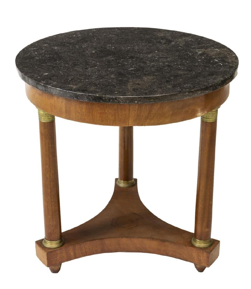 FRENCH EMPIRE STYLE MAHOGANY & MARBLE TABLE