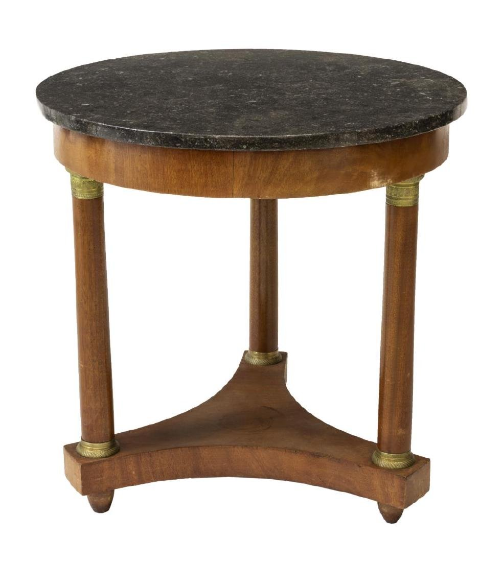 FRENCH EMPIRE STYLE MAHOGANY & MARBLE TABLE - 2