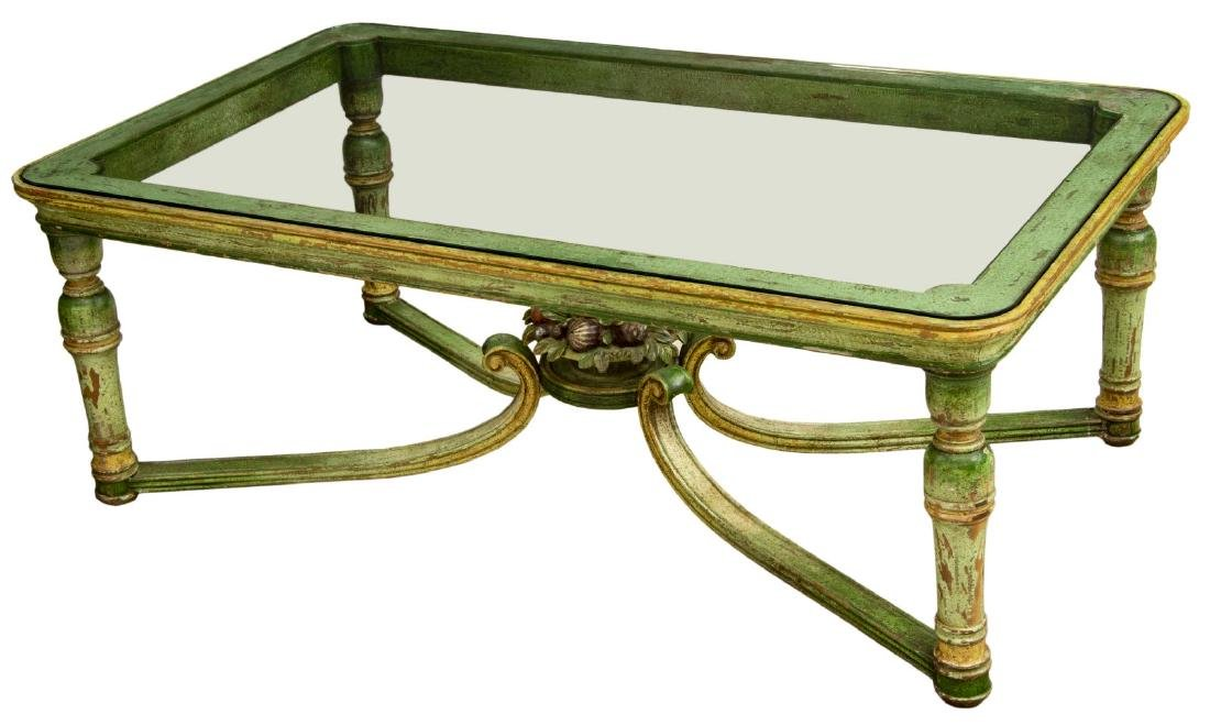 FRENCH GLASS-TOP POLYCHROME PAINTED COFFEE TABLE