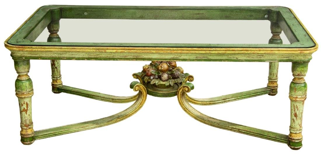 FRENCH GLASS-TOP POLYCHROME PAINTED COFFEE TABLE - 2