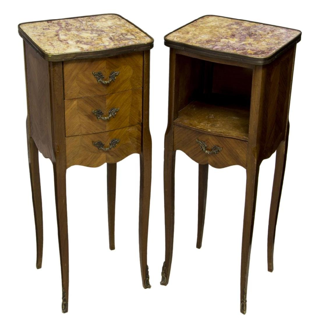 (2) LOUIS XV STYLE MAHOGANY & MARBLE SIDE TABLES