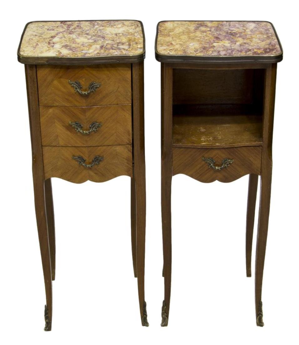 (2) LOUIS XV STYLE MAHOGANY & MARBLE SIDE TABLES - 2