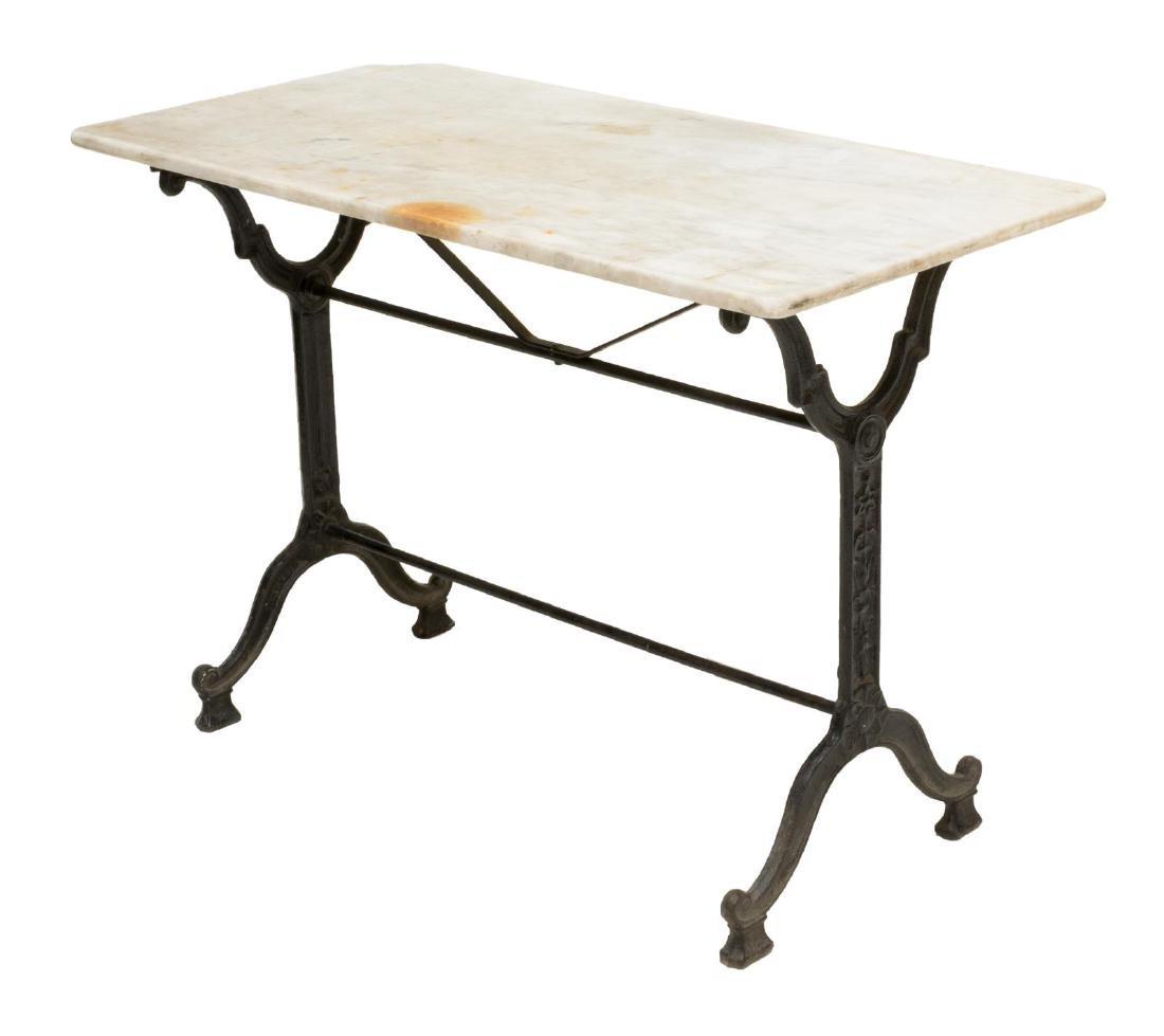 PARISIAN CAST IRON & MARBLE SOFA TABLE