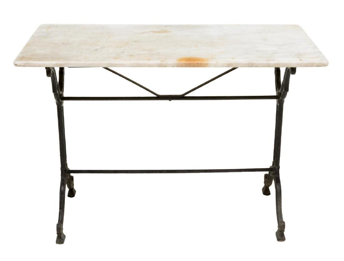 PARISIAN CAST IRON & MARBLE SOFA TABLE - 3