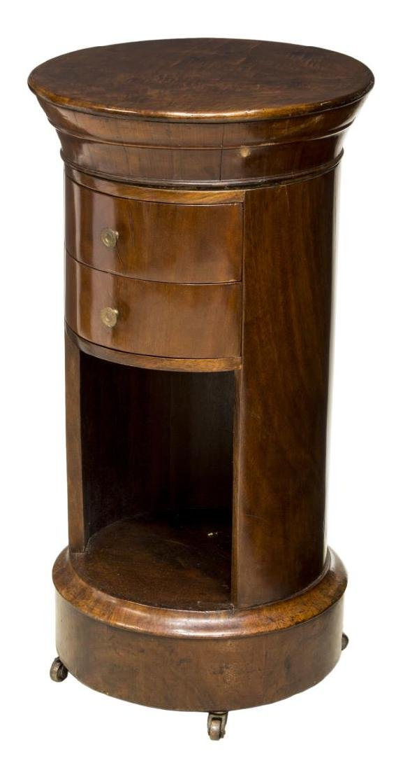 FRENCH EMPIRE STYLE CYLINDRICAL BEDSIDE CABINET