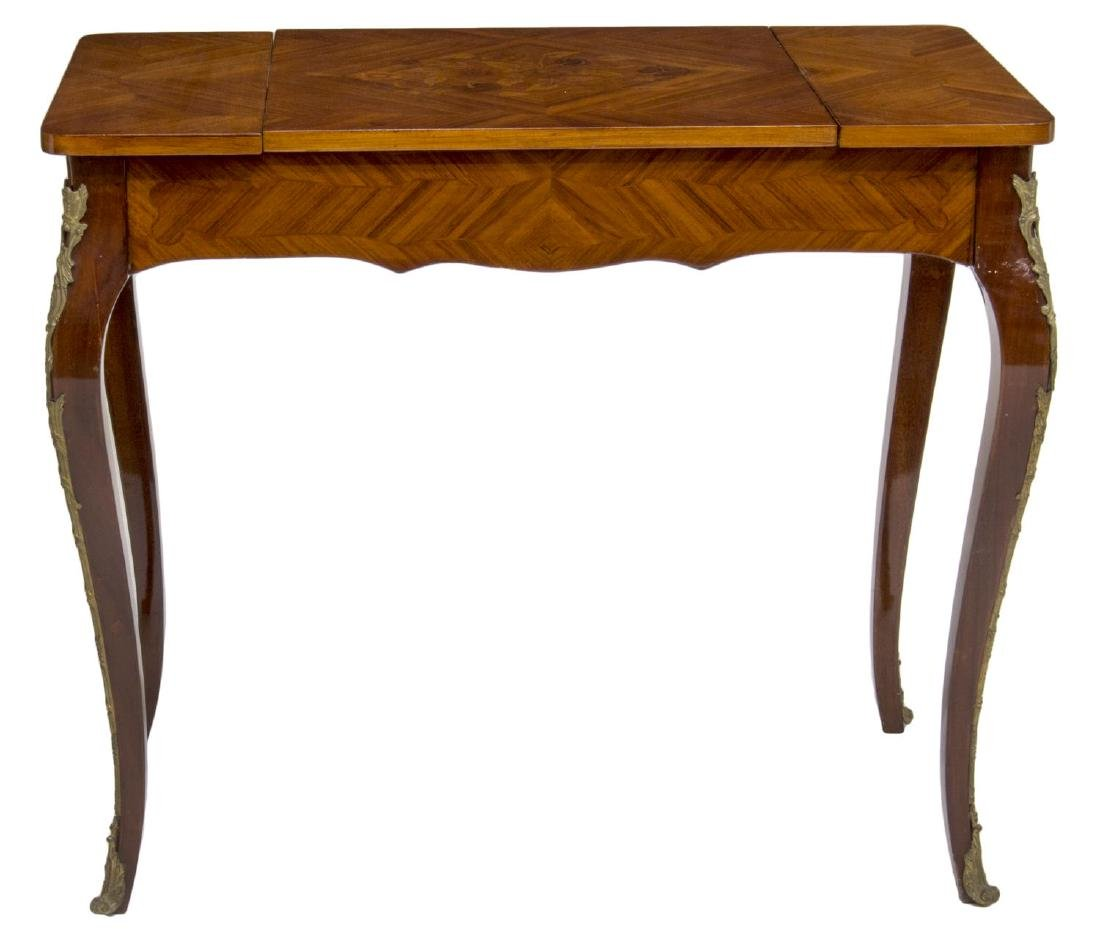 LOUIS XV STYLE MARQUETRY MAHOGANY GAMES TABLE - 2