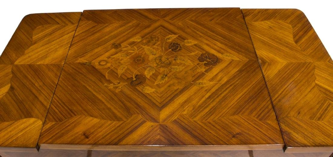 LOUIS XV STYLE MARQUETRY MAHOGANY GAMES TABLE - 3