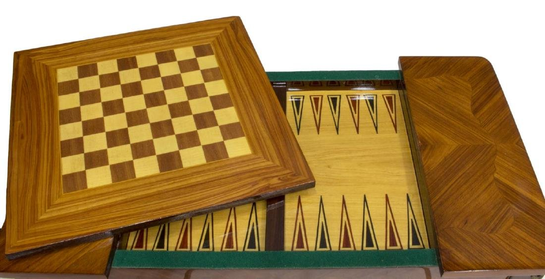 LOUIS XV STYLE MARQUETRY MAHOGANY GAMES TABLE - 4