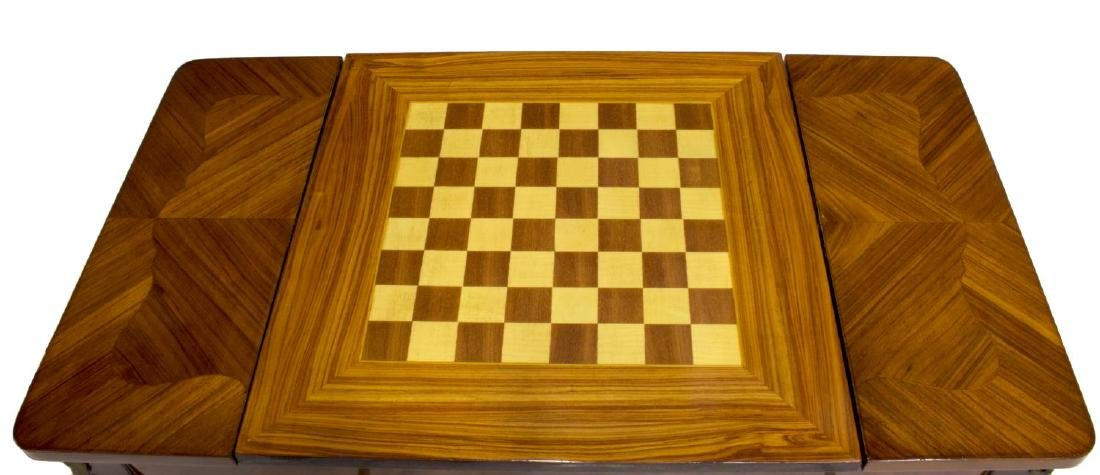 LOUIS XV STYLE MARQUETRY MAHOGANY GAMES TABLE - 5