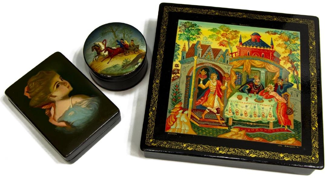 (3) RUSSIAN PAINTED & LACQUERED BOXES, USSR