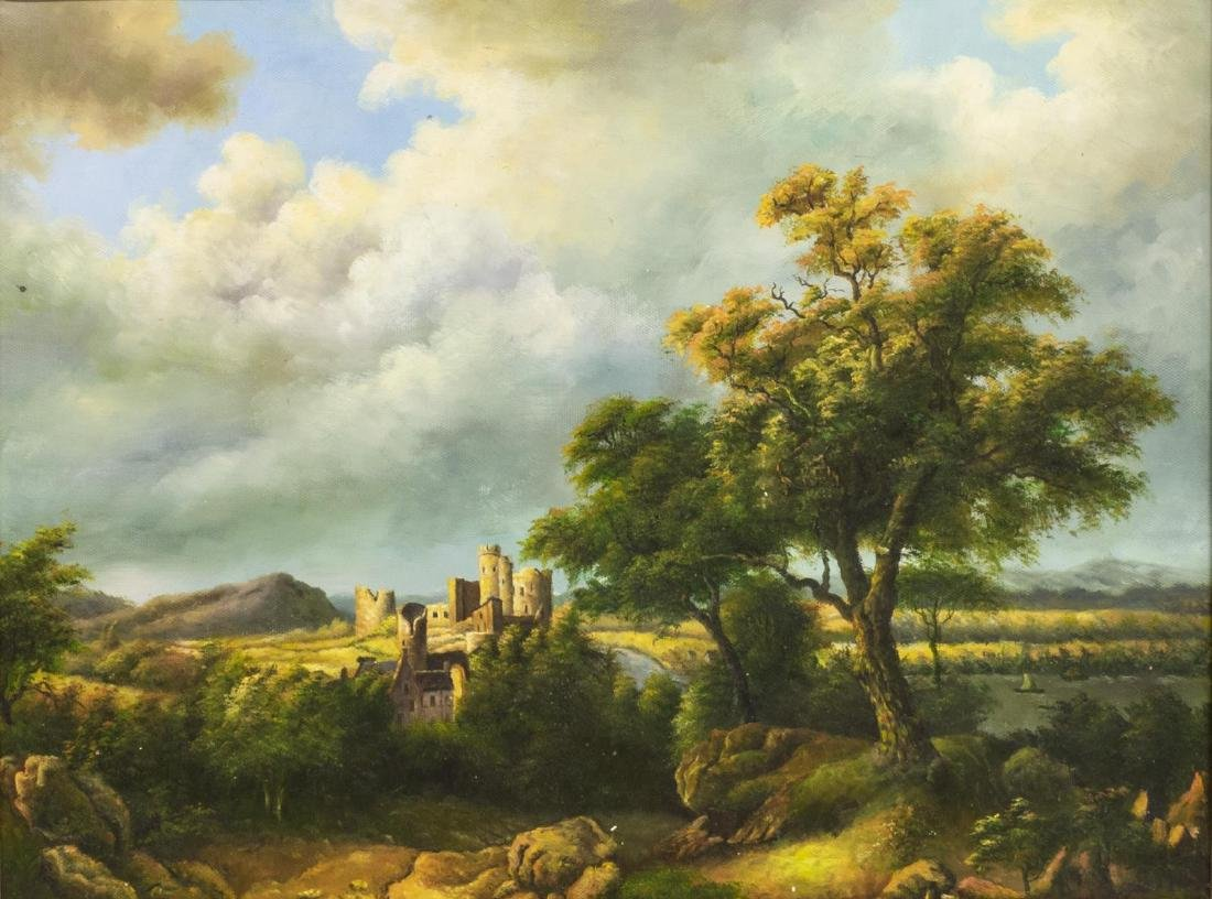 LANDSCAPE WITH CASTLE OIL ON CANVAS PAINTING