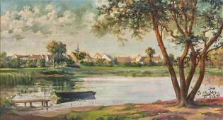 OIL ON CANVAS PAINTING VILLAGE SCENE WITH POND