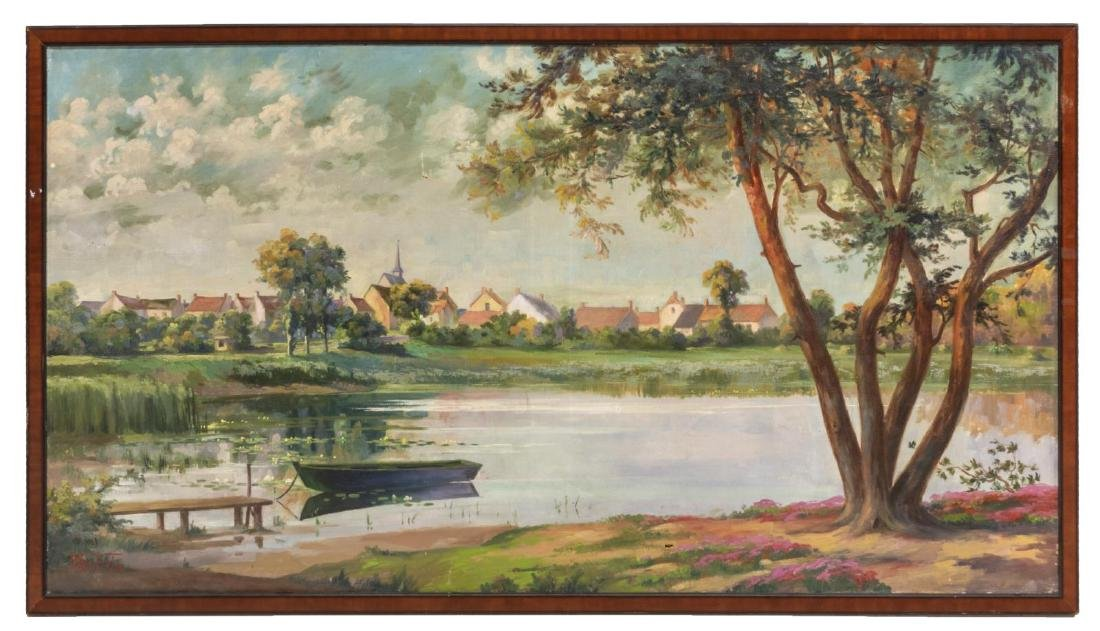 OIL ON CANVAS PAINTING VILLAGE SCENE WITH POND - 2