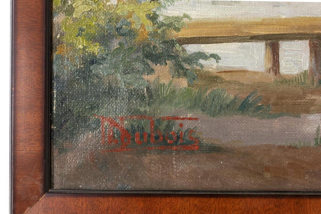 OIL ON CANVAS PAINTING VILLAGE SCENE WITH POND - 3