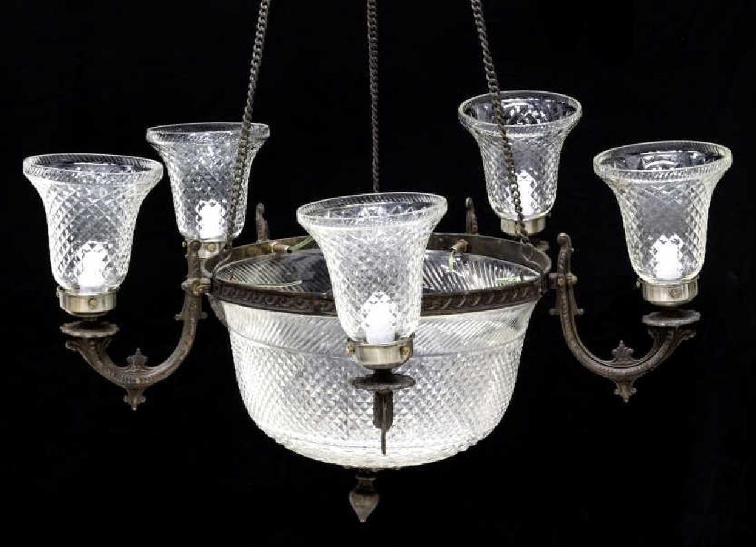 CONTINENTAL DIAMOND CUT GLASS 7-LIGHT CHANDELIER