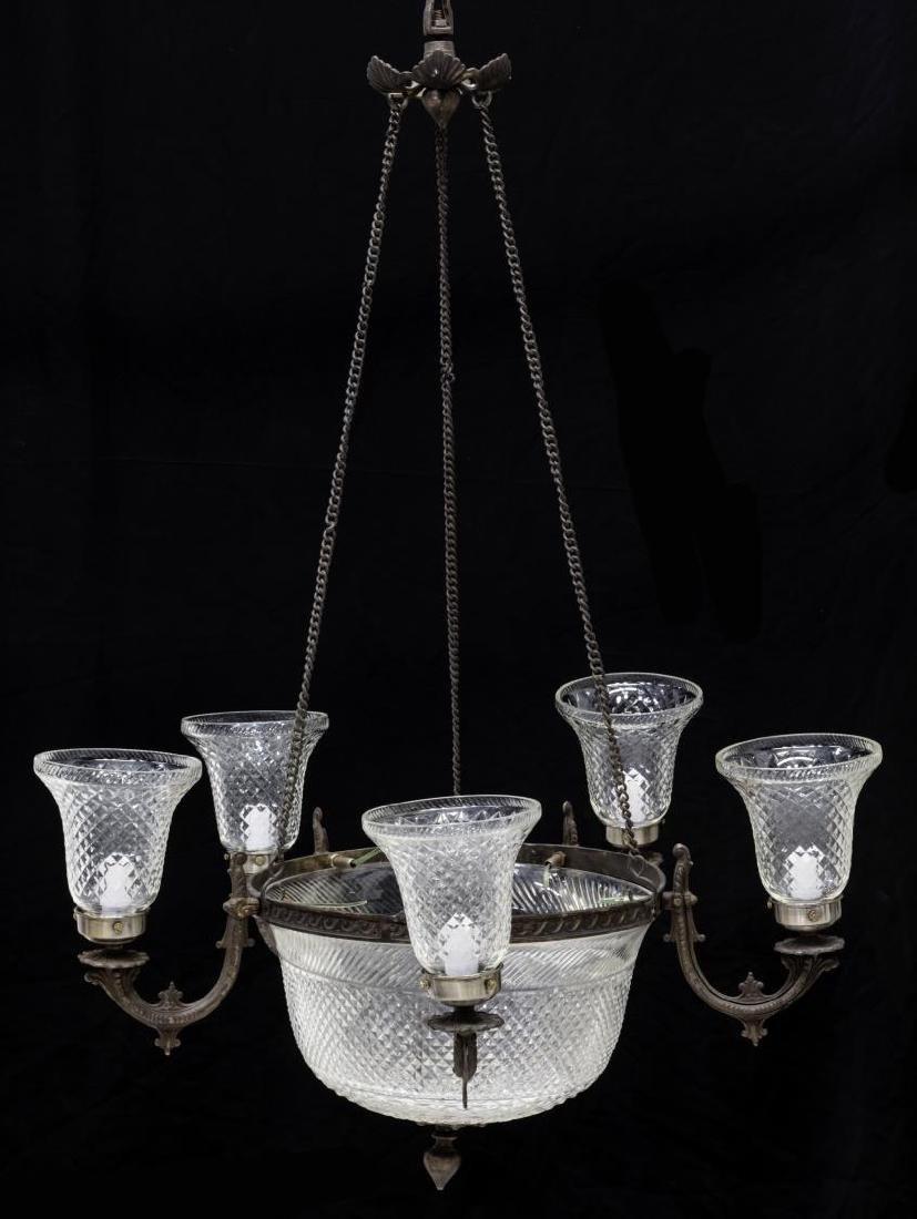 CONTINENTAL DIAMOND CUT GLASS 7-LIGHT CHANDELIER - 2