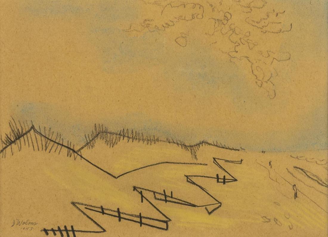 JOSEPH WOLINS (D.1999) BEACH LANDSCAPE SKETCH