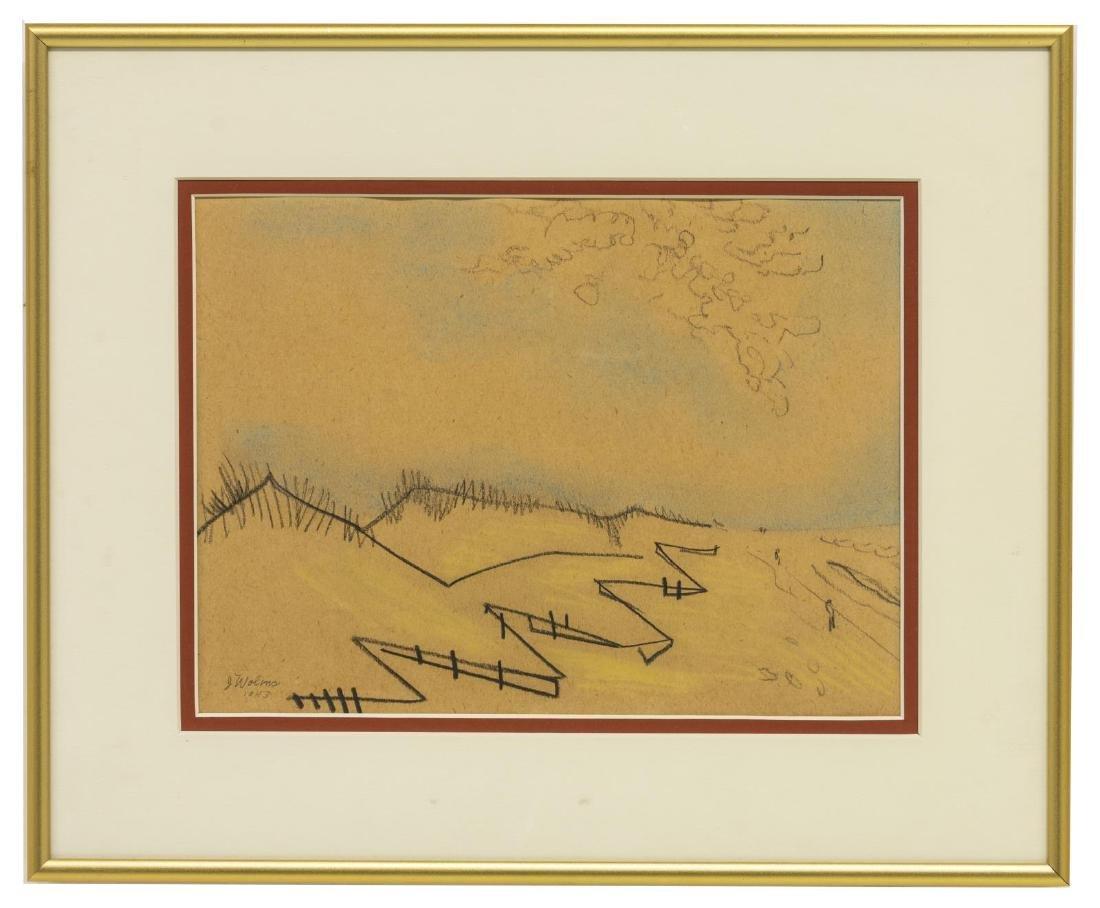 JOSEPH WOLINS (D.1999) BEACH LANDSCAPE SKETCH - 2