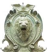VERDIGRIS BRONZE LIONS MASK GARDEN FOUNTAIN 84H