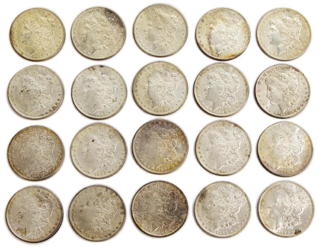 (20) U.S. BU UNCIRCULATED SILVER DOLLARS, 1886