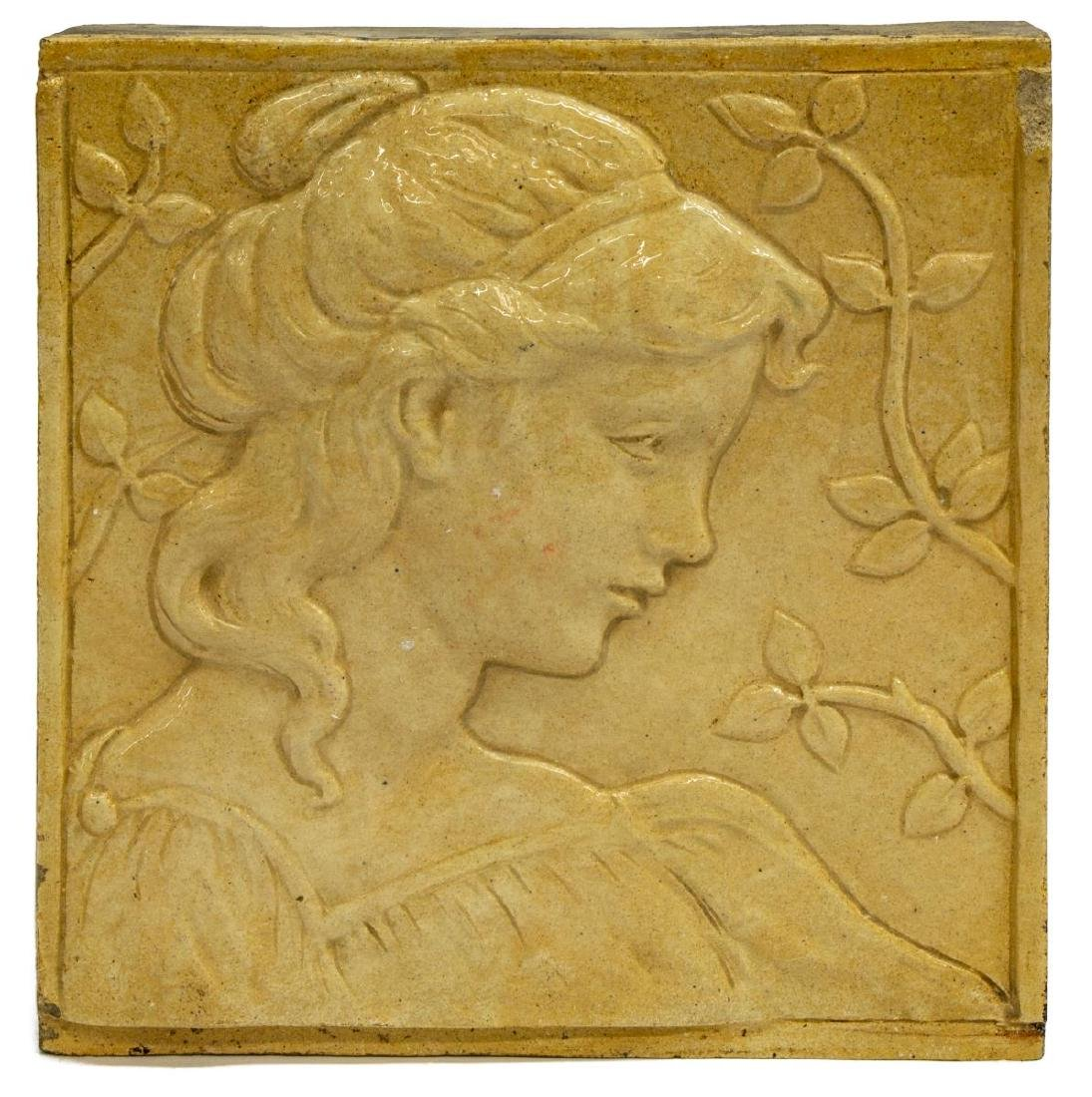 ART NOUVEAU STYLE GLAZED TILE, PROFILE OF A BEAUTY