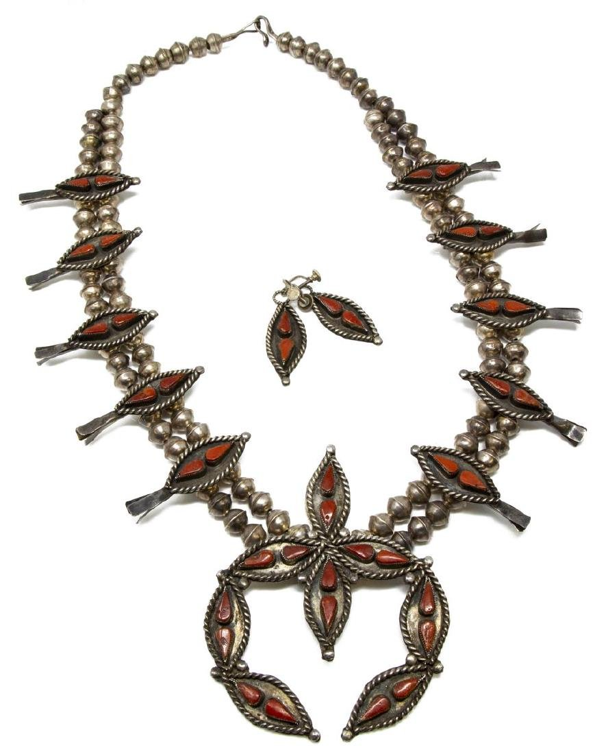(3) ZUNI SILVER SQUASH BLOSSOM NECKLACE & EARRINGS