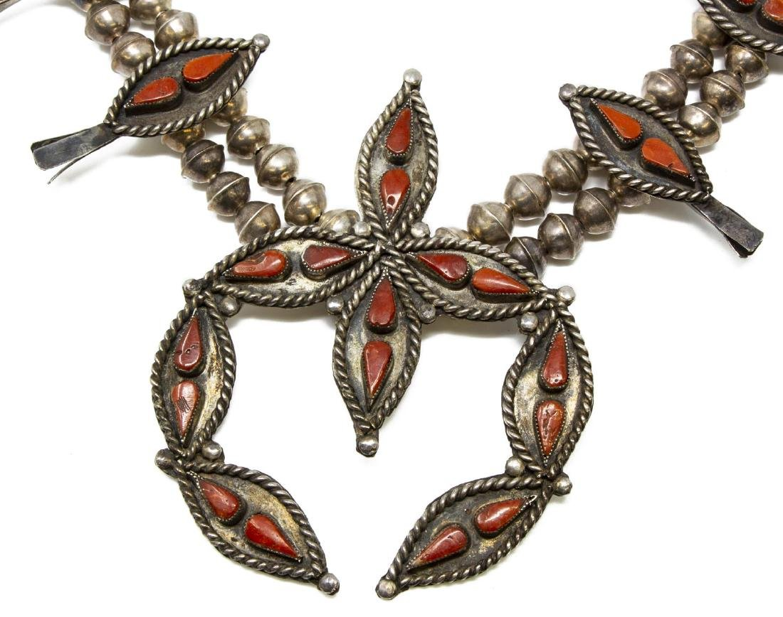 (3) ZUNI SILVER SQUASH BLOSSOM NECKLACE & EARRINGS - 2