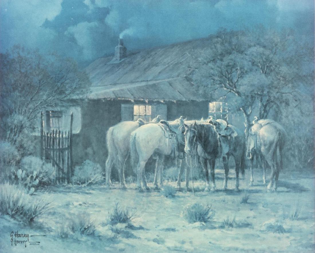G. HARVEY (TX, D.2017) 'POKER PALS' WESTERN PRINT