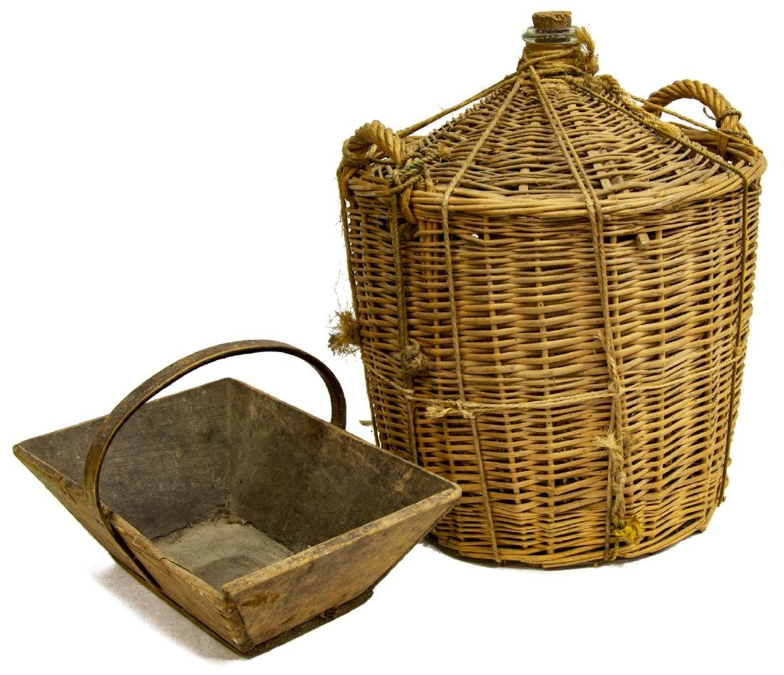 (2) FRENCH WINE BASKET AND HANDLE BOX