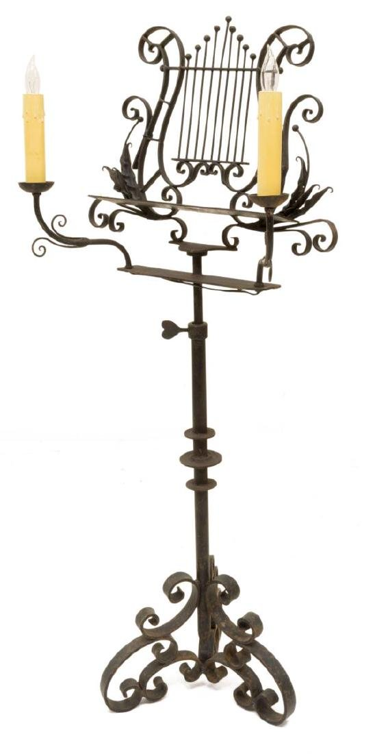 ANTIQUE WROUGHT IRON LYRE FORM LIGHTED MUSIC STAND - 2