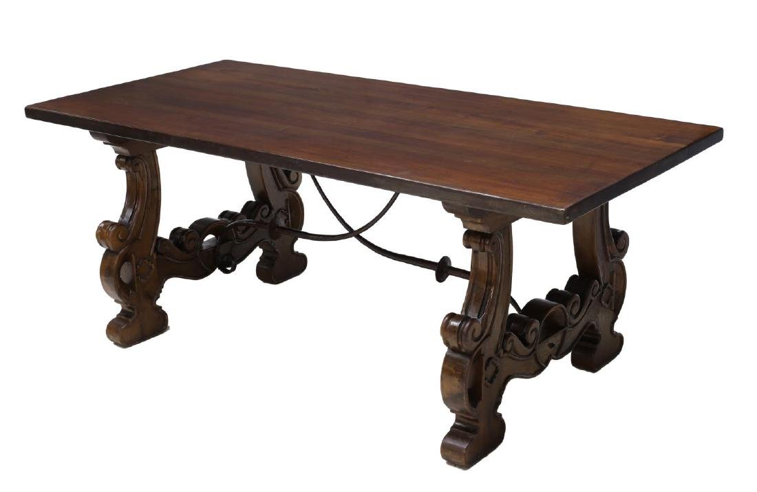 SPANISH BAROQUE STYLE CARVED REFECTORY TABLE