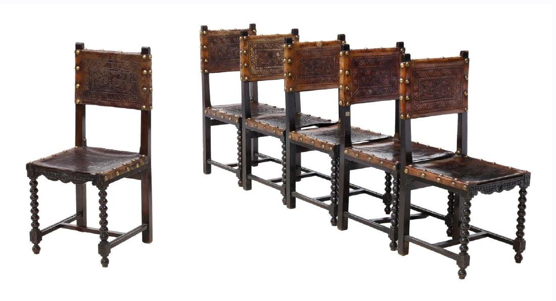 6)SPANISH BAROQUE REVIVAL EMBOSSED LEATHER CHAIRS