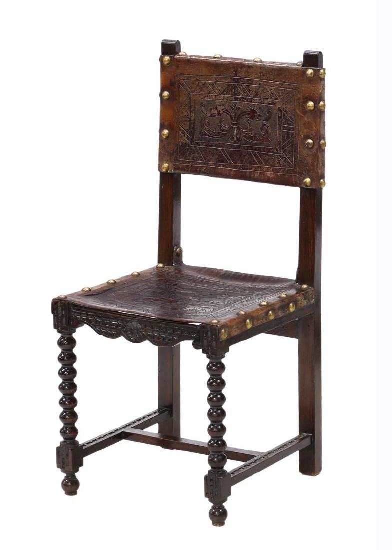 6)SPANISH BAROQUE REVIVAL EMBOSSED LEATHER CHAIRS - 2