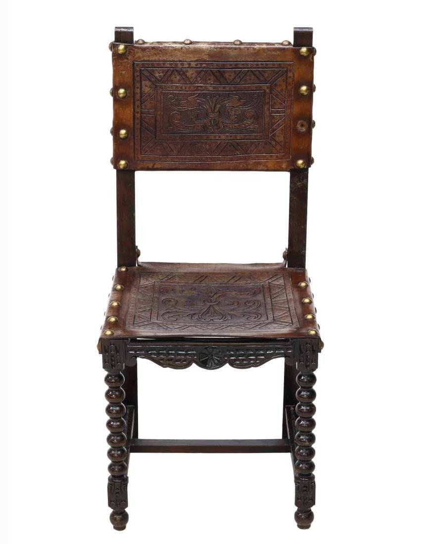 6)SPANISH BAROQUE REVIVAL EMBOSSED LEATHER CHAIRS - 3