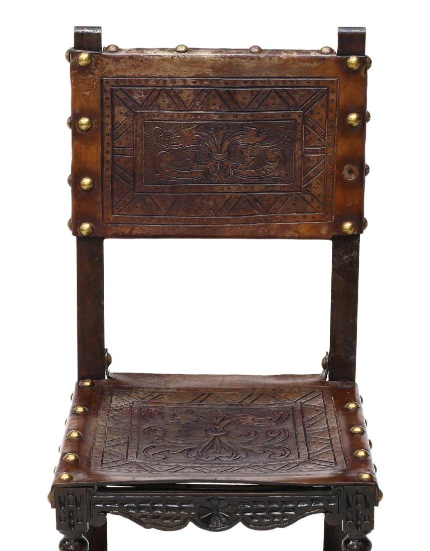 6)SPANISH BAROQUE REVIVAL EMBOSSED LEATHER CHAIRS - 4
