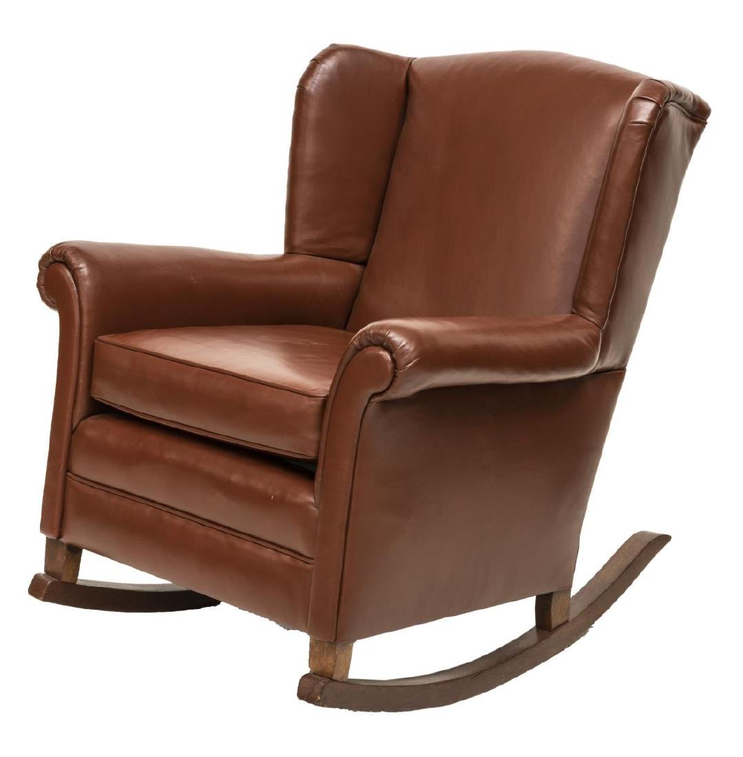 BROWN LEATHER WINGBACK ROCKING CHAIR