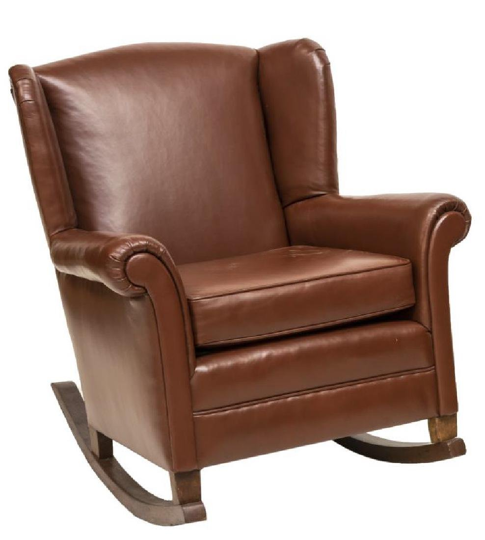 BROWN LEATHER WINGBACK ROCKING CHAIR - 2