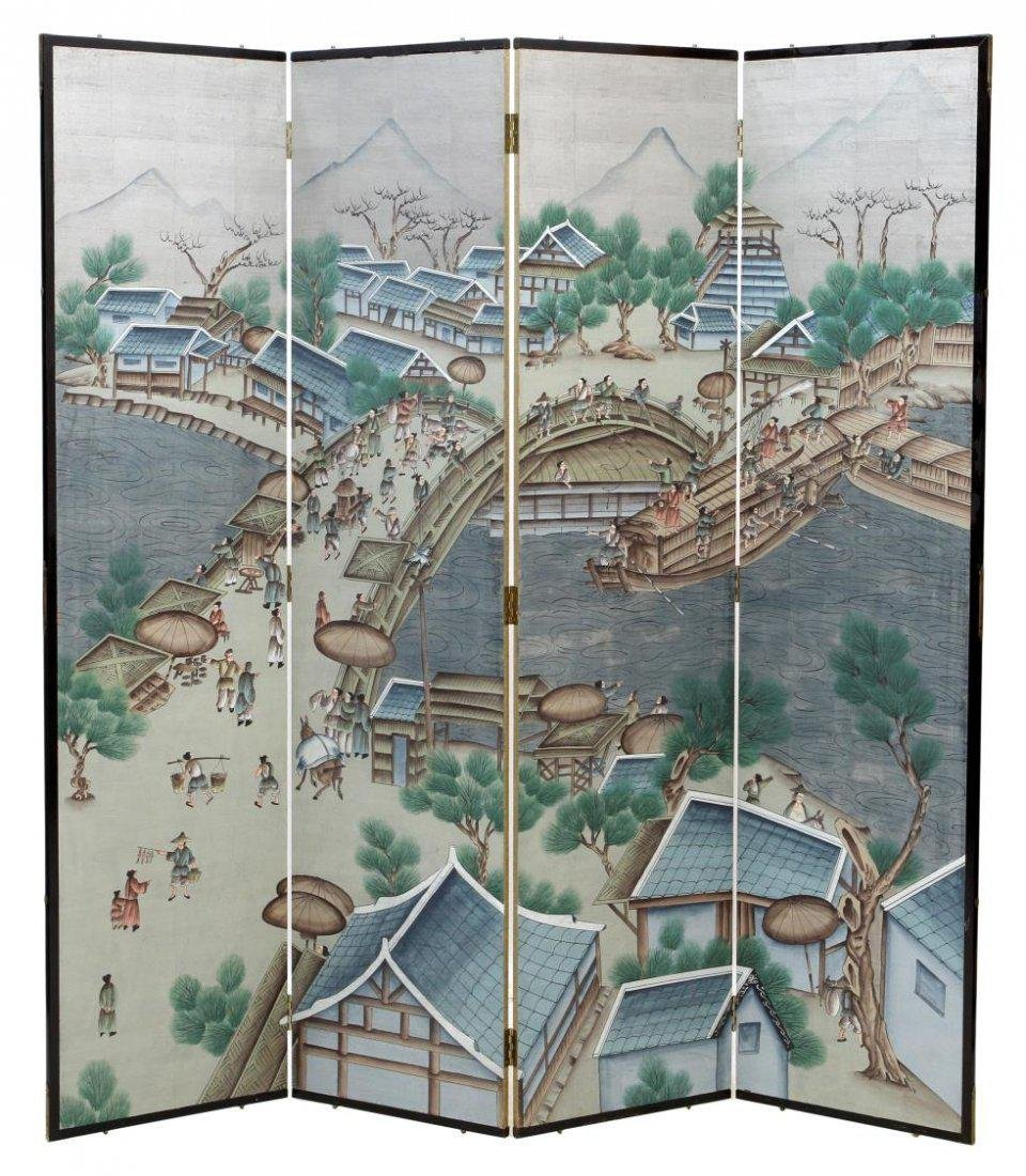 ASIAN FOUR-PANEL FIGURAL PAINTED FOLDING SCREEN