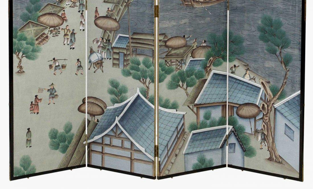 ASIAN FOUR-PANEL FIGURAL PAINTED FOLDING SCREEN - 3