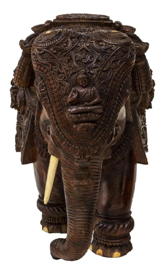 CARVED TEAK FIGURE OF AN ELEPHANT WITH BONE INLAY - 2