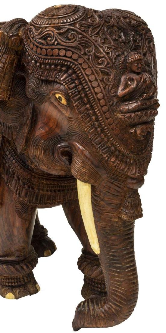 CARVED TEAK FIGURE OF AN ELEPHANT WITH BONE INLAY - 4