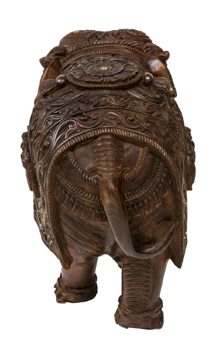 CARVED TEAK FIGURE OF AN ELEPHANT WITH BONE INLAY - 5