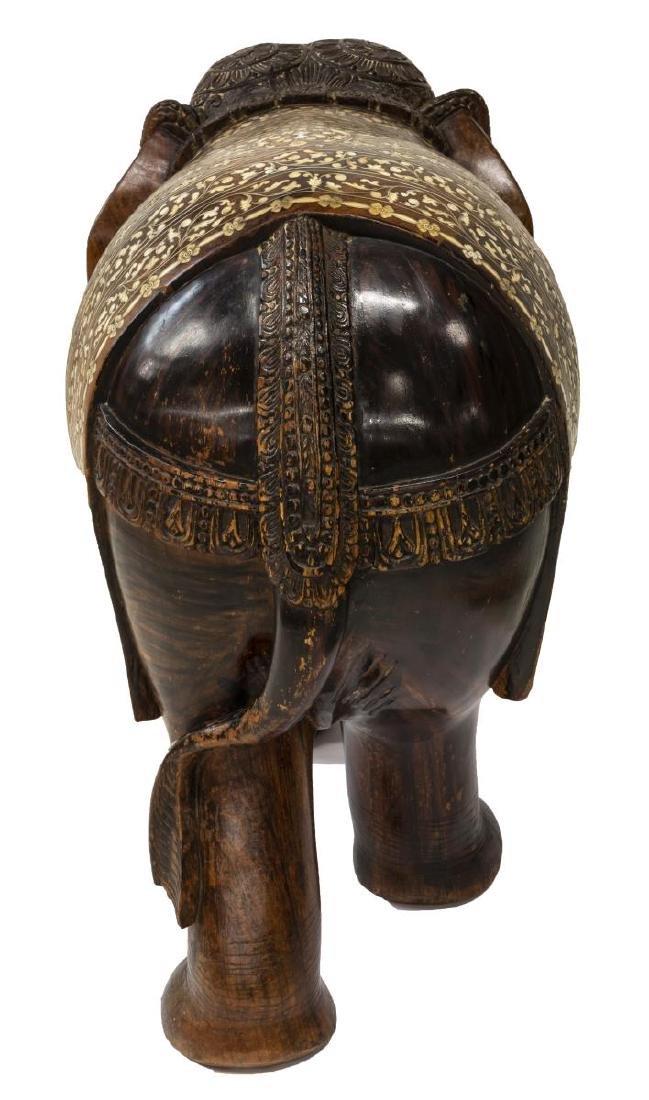 CARVED TEAK FIGURE OF AN ELEPHANT WITH BONE INLAY - 5