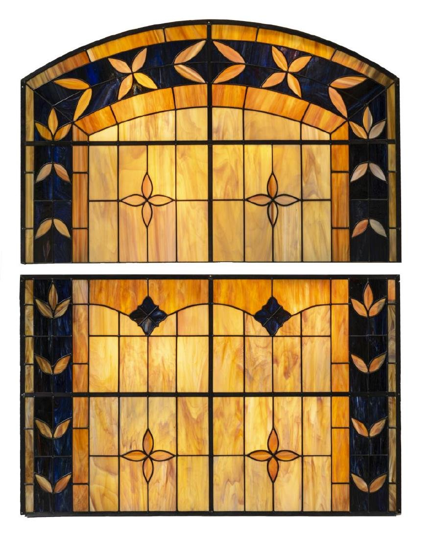 (2) LARGE COLORED LEADED SLAG GLASS WALL PANELS