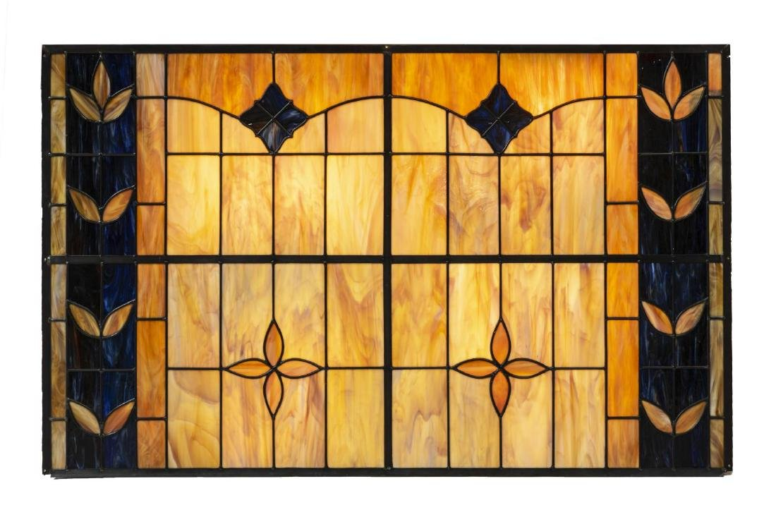 (2) LARGE COLORED LEADED SLAG GLASS WALL PANELS - 3