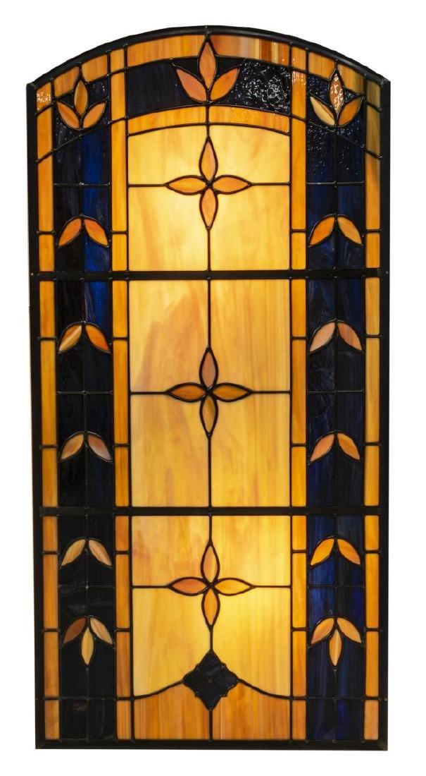 CARAMEL & DARK BLUE FLORAL SLAG GLASS WALL PANEL
