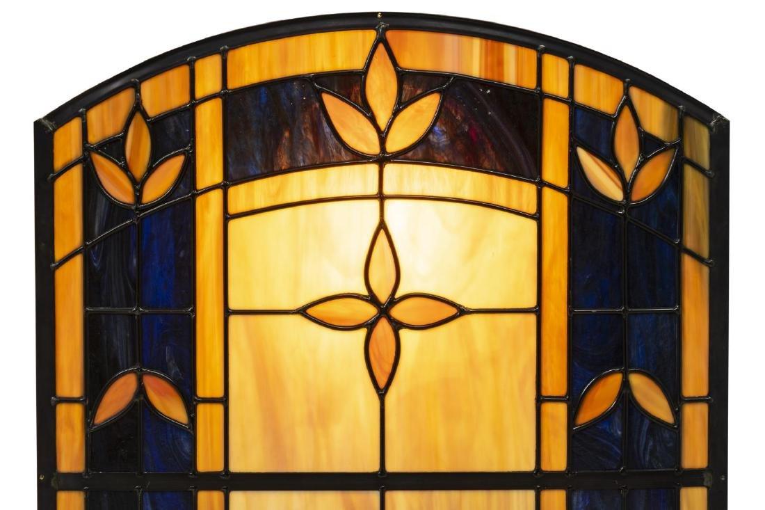 CARAMEL & DARK BLUE FLORAL SLAG GLASS WALL PANEL - 2