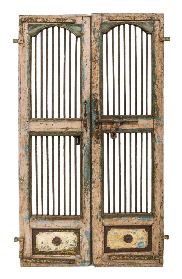 (PAIR) RUSTIC ARCHITECTURAL PAINTED DOORS