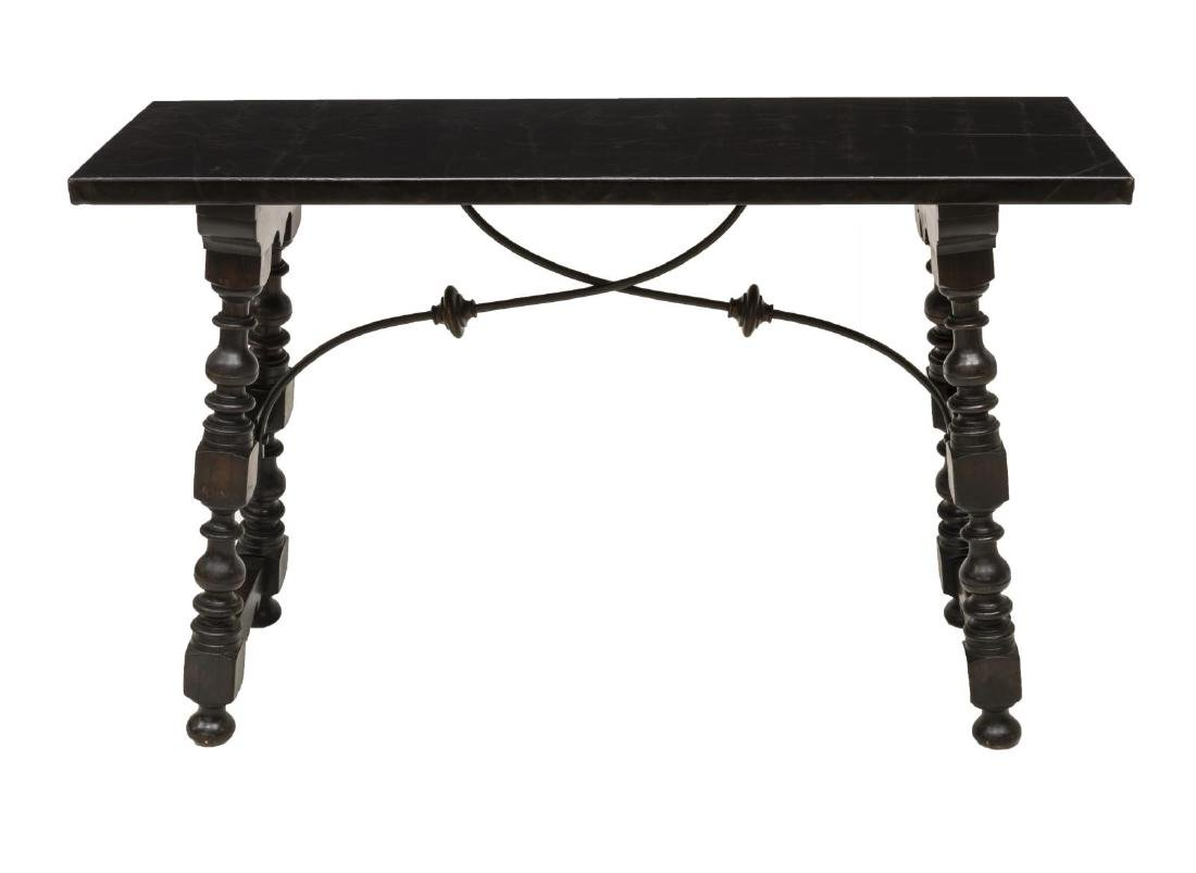 SPANISH BAROQUE STYLE LEATHER-TOP CONSOLE TABLE - 3