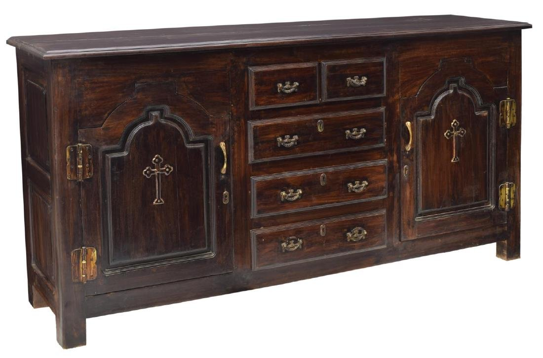 RUSTIC CARVED SIDEBOARD ECCLESIASTICAL CROSSES